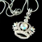 Royal Princess Crown Cross Swarovski Crystal AB Pendant Necklace