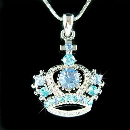 Aqua Royal Princess Crown Cross Swarovski Crystal Charm Necklace
