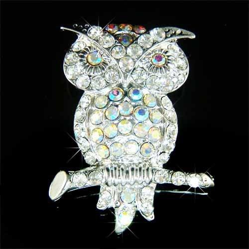 Elegant Owl on the Tree Branch Swarovski Crystal Brooch