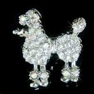 French Poodle Dog Swarovski Crystal Brooch