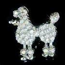 French Poodle Dog Swarovski Crystal Brooch