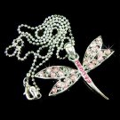 Pink Dragonfly Swarovski Crystal Pendant Chain Necklace