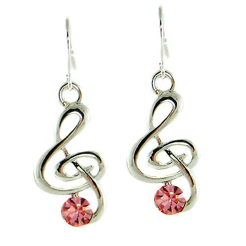 Treble G Clef Swarovski Pink Crystal Music Note Pendant Earrings