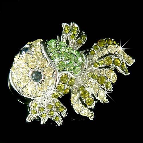 Christmas Green Swarovski Crystal Goldfish Brooch