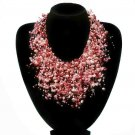 Red Waterfall Floating Bridal Wedding Pearl Necklace