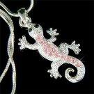 Pink Swarovski Crystal Newt / Lizard / Gecko / Reptile Necklace