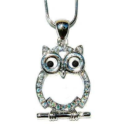 Wisdom Wise Owl Teacher on the branch Swarovski Crystal Necklace