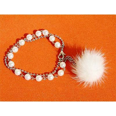 Swarovski White Pearl Bracelet with Fur Ball