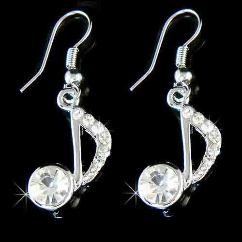 Music Note Swarovski Crystal Earrings