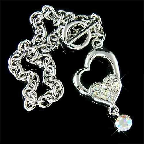 Swarovski Crystal Dangle Heart Bracelet