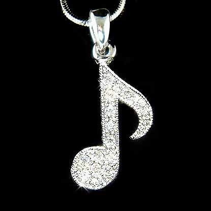 Clear Swarovski Crystal Music Note Necklace
