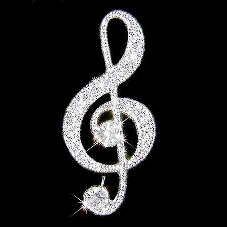 Treble G Clef Music Note Swarovski Crystal Brooch for Student