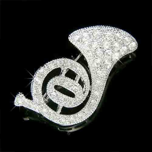 Swarovski Crystal Musical Instrument French Horn Brooch