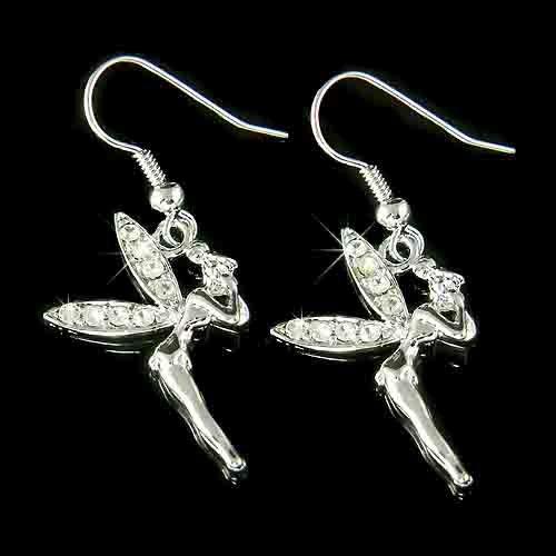 Clear Swarovski Crystal Tinkerbell Fairy Earrings