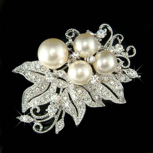 Bridal Wedding Flower Pearl Swarovski Crystal Bouquet Brooch