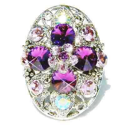 Purple Swarovski Crystal Cross Flower Cocktail Ring