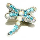 Swarovski Crystal Aqua Blue Dragonfly Cocktail Party Ring