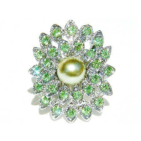 Lime Green Swarovski Crystal and Pearl Flower Cocktail Ring