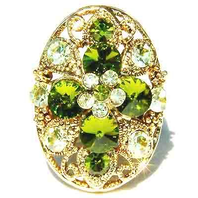 Gold Plated Green Swarovski Crystal Cross Flower Ring