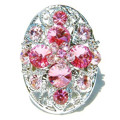 Pink Rose Swarovski Crystal Cross Flower Cocktail Ring