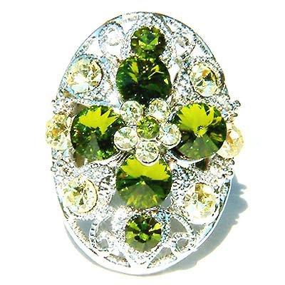 Garden Green Swarovski Crystal Cross Flower Cocktail  Ring