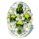 Garden Green Swarovski Crystal Cross Flower Cocktail  Ring