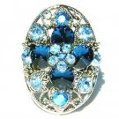 Sexy Blue Swarovski Crystal Cross Flower Cocktail Party Ring