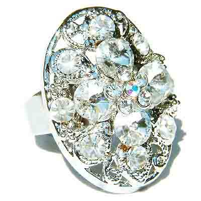 Clear Bridal Swarovski Crystal Cross Flower Cocktail Ring