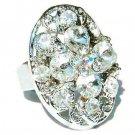 Clear Bridal Swarovski Crystal Cross Flower Cocktail Ring