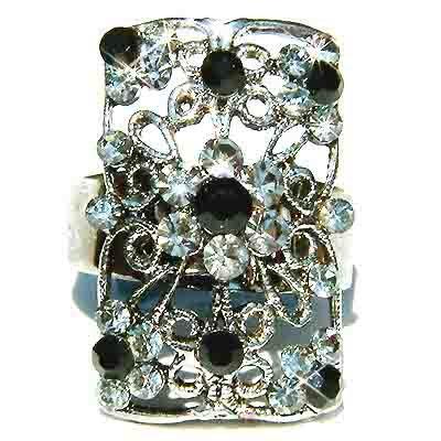 Black Swarovski Crystal Cutout Flower Rectangle Ring