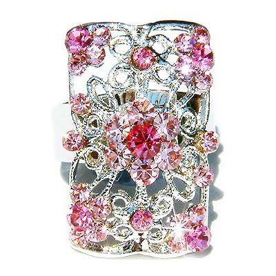 Pink Swarovski Crystal Cutout Flower Rectangle Ring