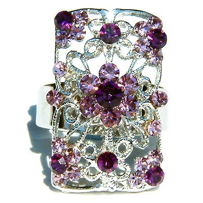 Purple Swarovski Crystal Cutout Flower Rectangle Ring