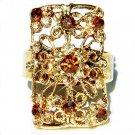 Gold Brown Swarovski Crystal Cutout Flower Cocktail Ring
