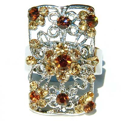 Topaz Swarovski Crystal Cutout Flower Rectangle Ring