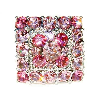 Pink Square Swarovski Crystal Cocktail Ring