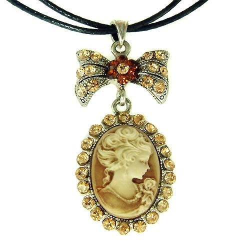 Victorian Topaz Gold Cameo Swarovski Crystal Leather Necklace