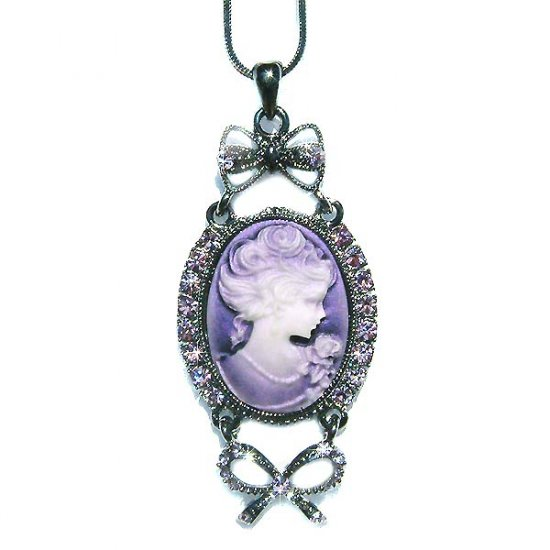 Antique Purple Swarovski Crystal Cameo Necklace