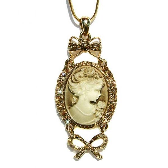 Antique Gold Swarovski Crystal Cameo Bow Pendant Necklace