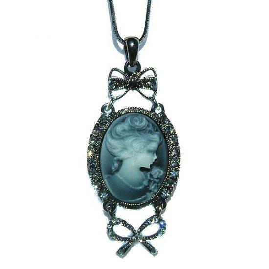 Antique Black Swarovski Crystal Cameo Necklace