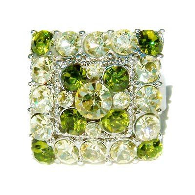 Lime Green Square Swarovski Crystal Cocktail Party Ring