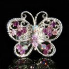 Big Cutout Purple Swarovski Crystal Butterfly Ring