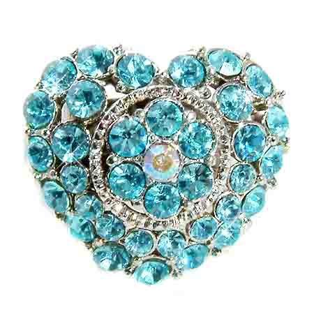Aqua Love Heart Flower Swarovski Crystal Cocktail Ring