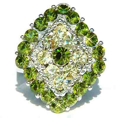 Green Diamond Swarovski Crystal Cocktail Ring