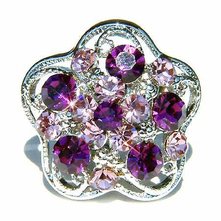 Amethyst Swarovski Crystal Purple Flower Cocktail Party Ring