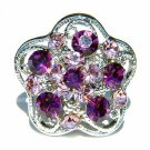 Amethyst Swarovski Crystal Purple Flower Cocktail Party Ring