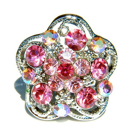 Pink Swarovski Crystal Flower Cocktail Ring