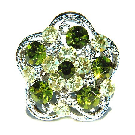 Olivine Swarovski Crystal Flower Cocktail Ring