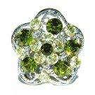Olivine Swarovski Crystal Flower Cocktail Ring