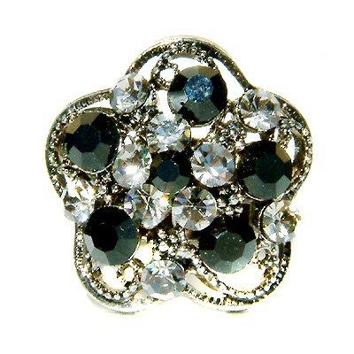 Black Swarovski Crystal Flower Cocktail Party Rhinestone Ring