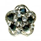 Black Swarovski Crystal Flower Cocktail Party Rhinestone Ring